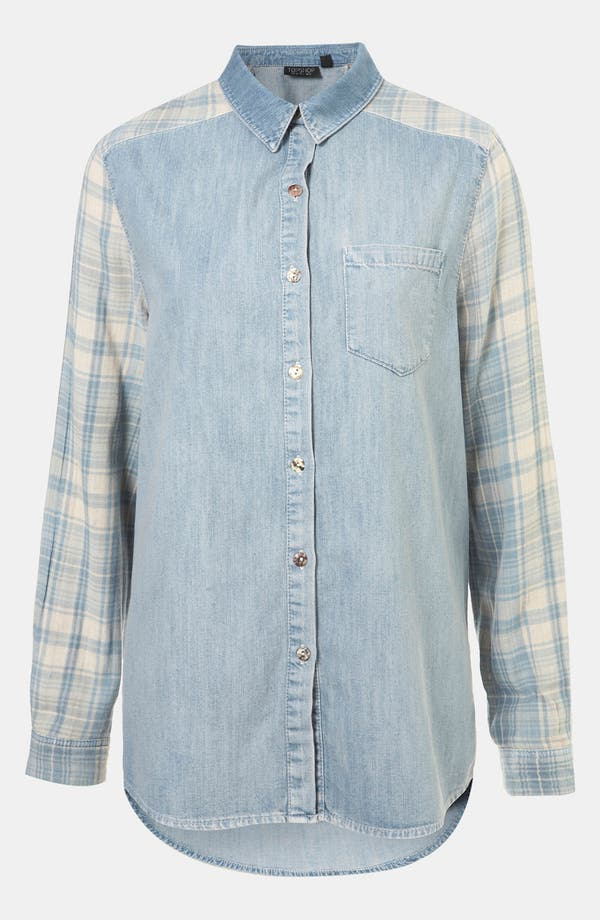 Main Image - Topshop Moto Plaid Sleeve Chambray Shirt