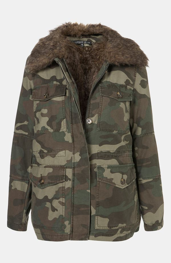 Alternate Image 1 Selected - Topshop Faux Fur Lined Camo Utility Jacket (Petite)