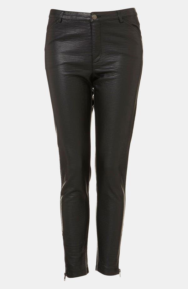 Alternate Image 1 Selected - Topshop 'Howard' Croc Embossed Faux Leather Pants
