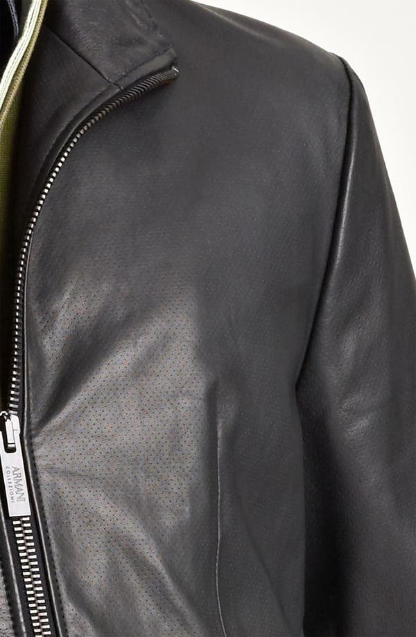 Alternate Image 3  - Armani Collezioni Perforated Leather Jacket