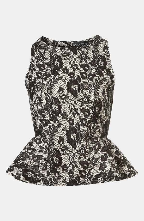 Alternate Image 1 Selected - Topshop Lace Peplum Top (Petite)