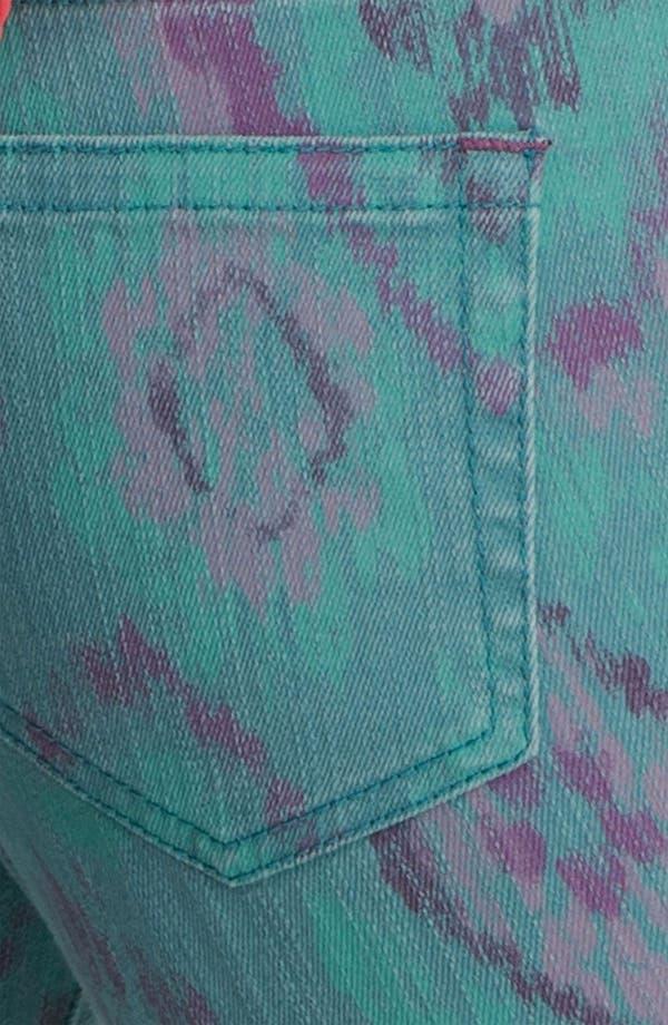 Alternate Image 3  - Fire Print Skinny Jeans (Teal Ikat) (Juniors)