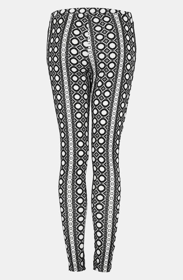 Alternate Image 2  - Topshop Velvet Geo Print Leggings