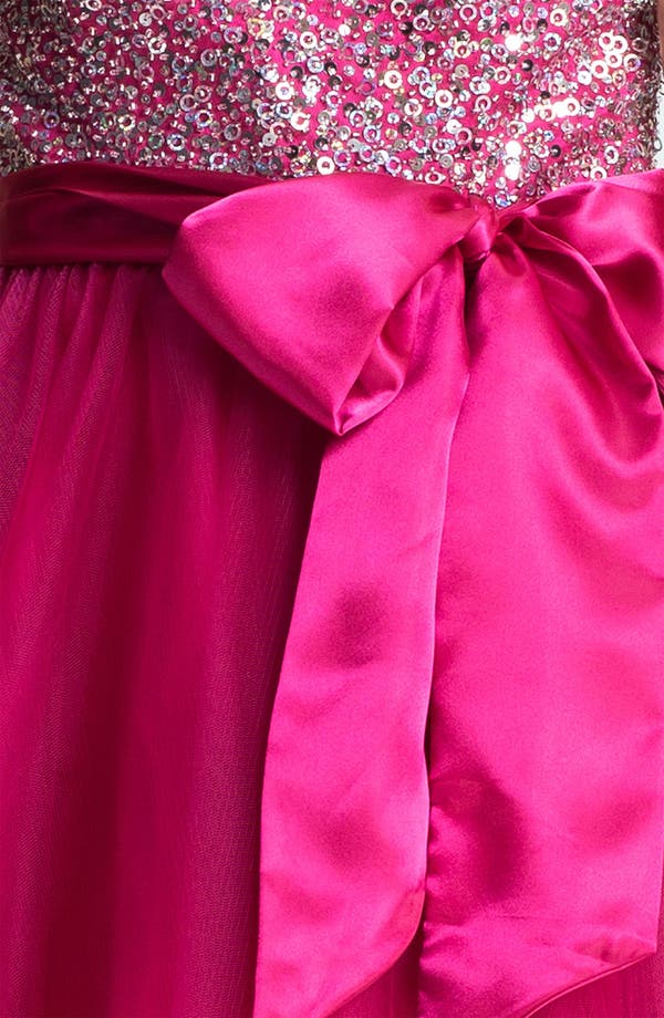 Embellished Tulle Ball Gown,                             Alternate thumbnail 3, color,                             Fuchsia