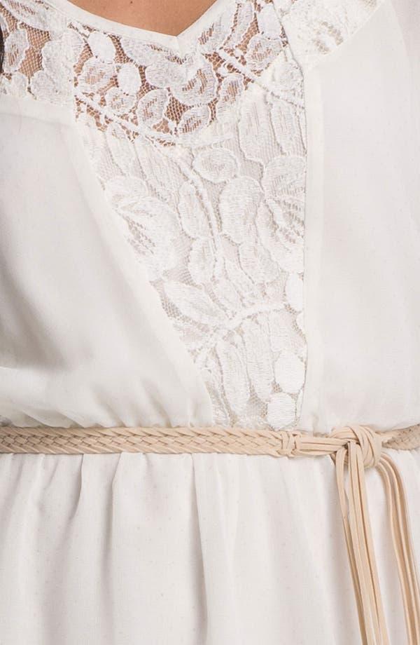 Braided Belt Lace Trim Dress,                             Alternate thumbnail 3, color,                             Ivory