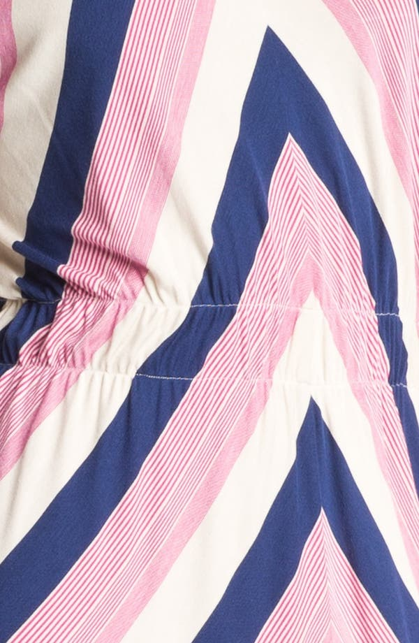 Stripe High/Low Midi Dress,                             Alternate thumbnail 3, color,                             Navy Pink And Oatmeal