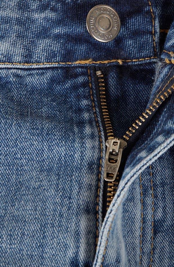 Alternate Image 4  - Topshop Moto 'Dark Vintage Polly' Denim Shorts