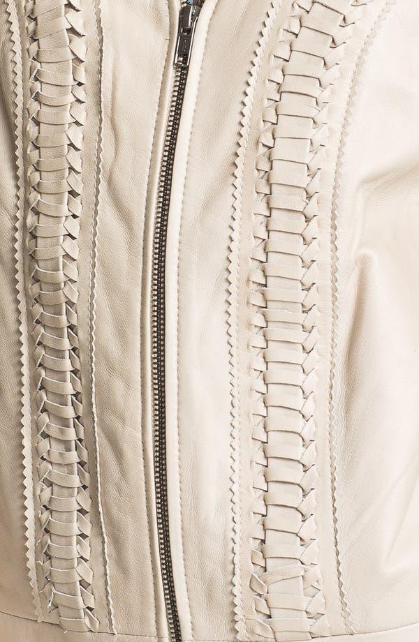 Alternate Image 3  - Hinge® Braid Front Leather Jacket