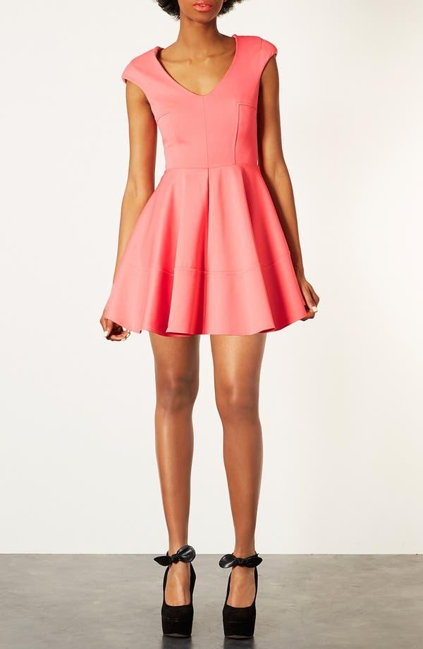 Main Image - Topshop Rib Pleated Skater Dress