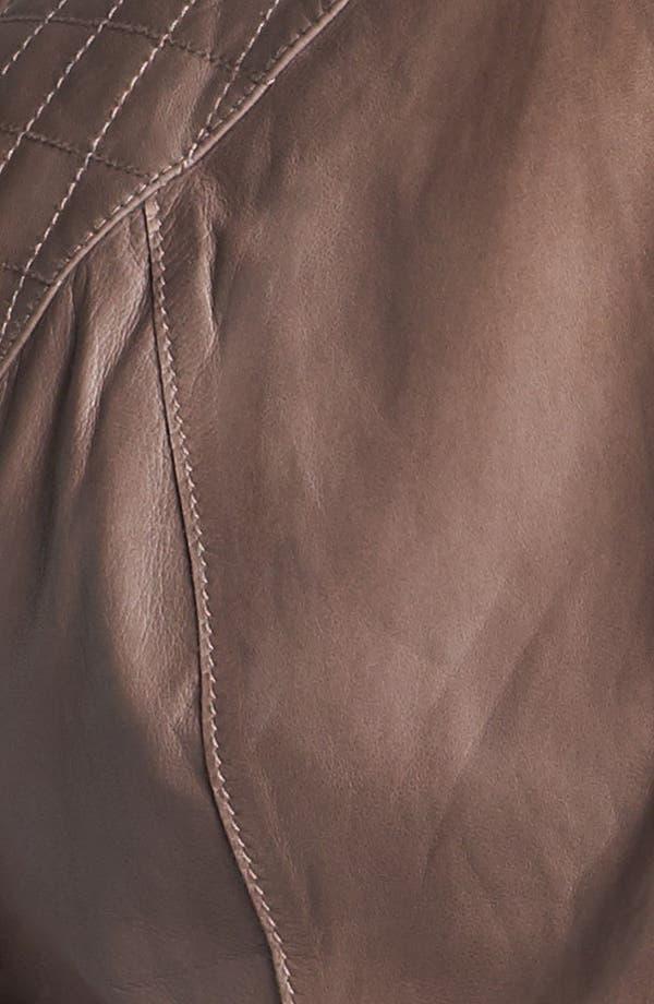 Alternate Image 3  - Halogen® Cutaway Leather Jacket (Plus Size)