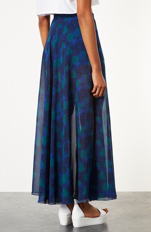 Alternate Image 2  - Topshop Lace Print Maxi Skirt