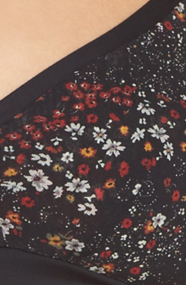 Verona Convertible Bralette,                             Alternate thumbnail 5, color,                             Black Flower Field