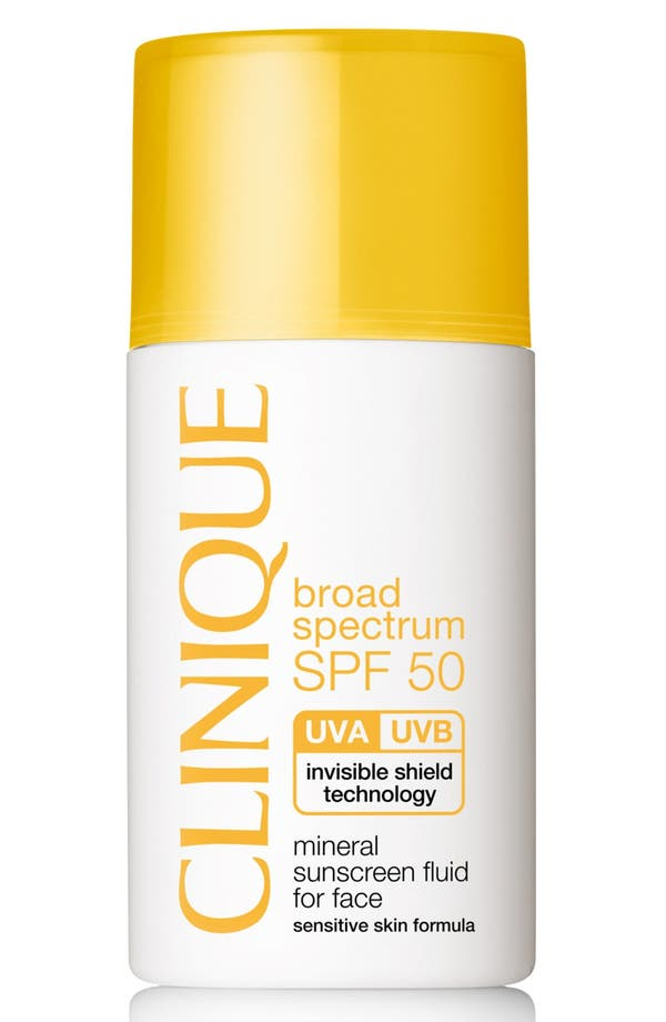 Broad Spectrum SPF 50 Mineral Sunscreen Fluid for Face,                         Main,                         color, No Color