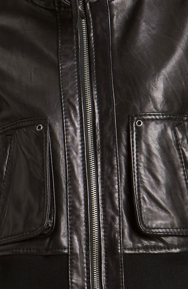 Alternate Image 3  - MICHAEL Michael Kors Knit Trim Leather Bomber Jacket
