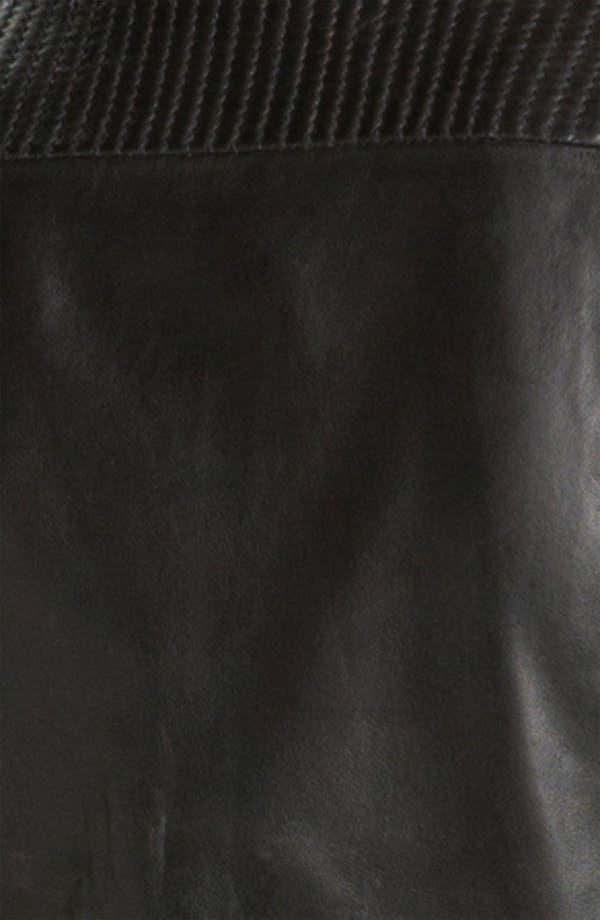 'Moss' Zip Detail Leather Jacket,                             Alternate thumbnail 3, color,                             Black