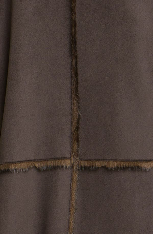 Faux Shearling Coat,                             Alternate thumbnail 3, color,                             Chocolate