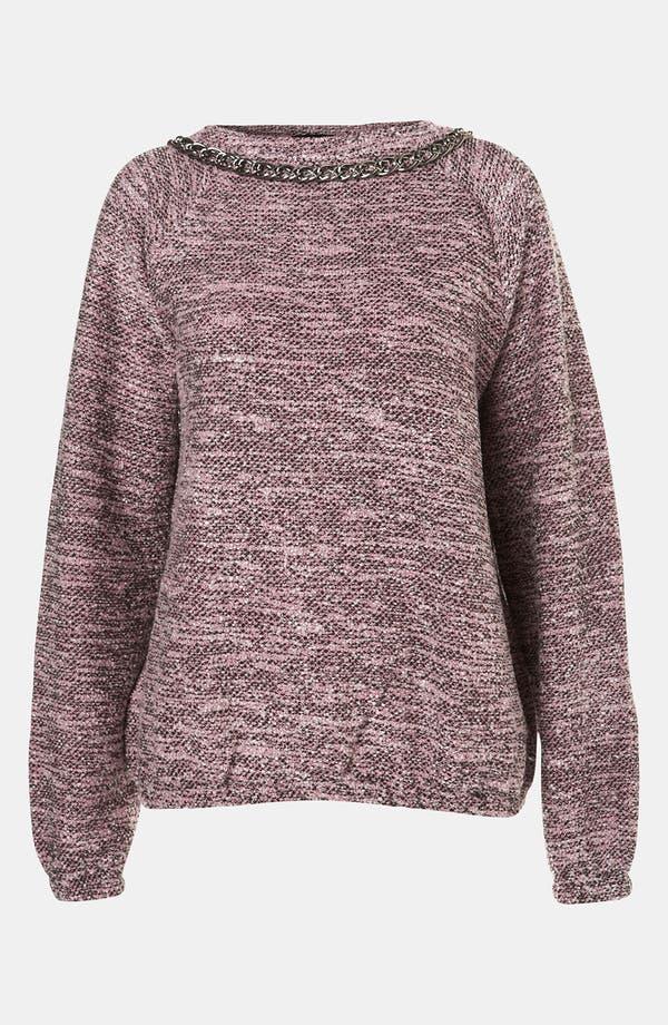 Main Image - Topshop Chain Trim Bouclé Sweatshirt