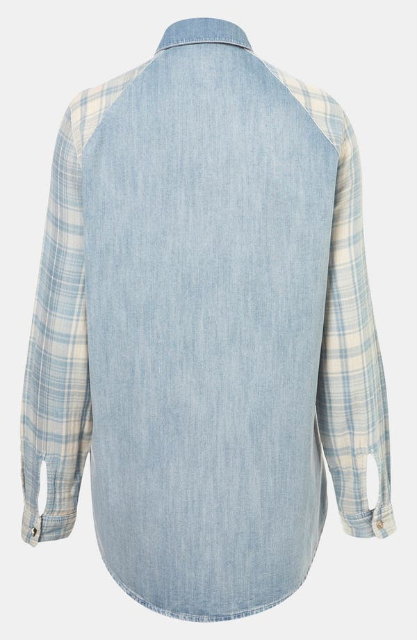 Alternate Image 2  - Topshop Moto Plaid Sleeve Chambray Shirt