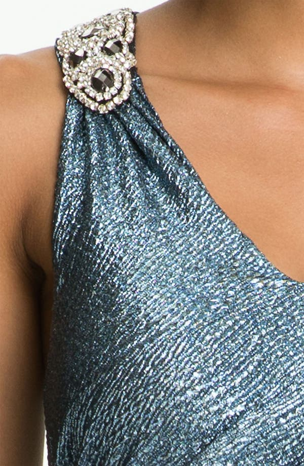 Alternate Image 3  - Hailey by Adrianna Papell Metallic Jersey Racerback Gown