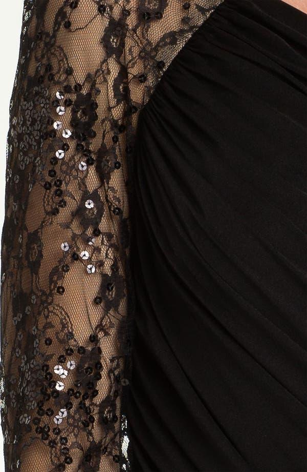 Alternate Image 3  - Aidan Mattox One Sleeve Lace & Jersey Sheath Dress (Online Only)