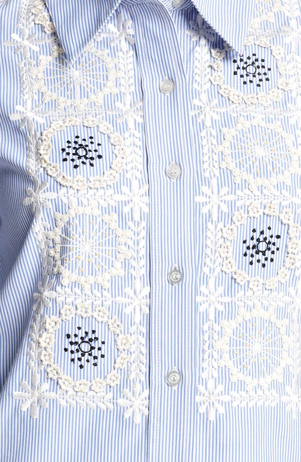 Alternate Image 3  - Moschino Cheap & Chic Embroidered Bib Pinstripe Shirt