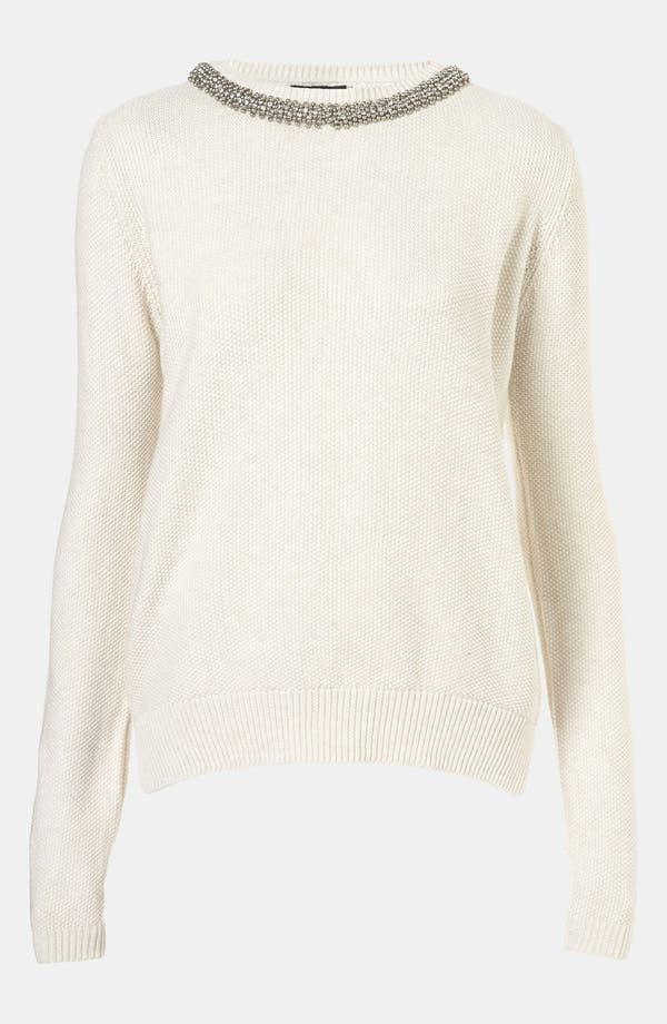 Alternate Image 1 Selected - Topshop Embellished Collar Sweater