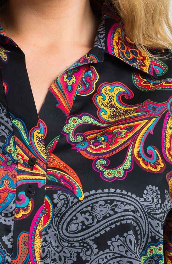 Alternate Image 3  - Foxcroft 'Holiday Paisley' Shaped Shirt (Plus)