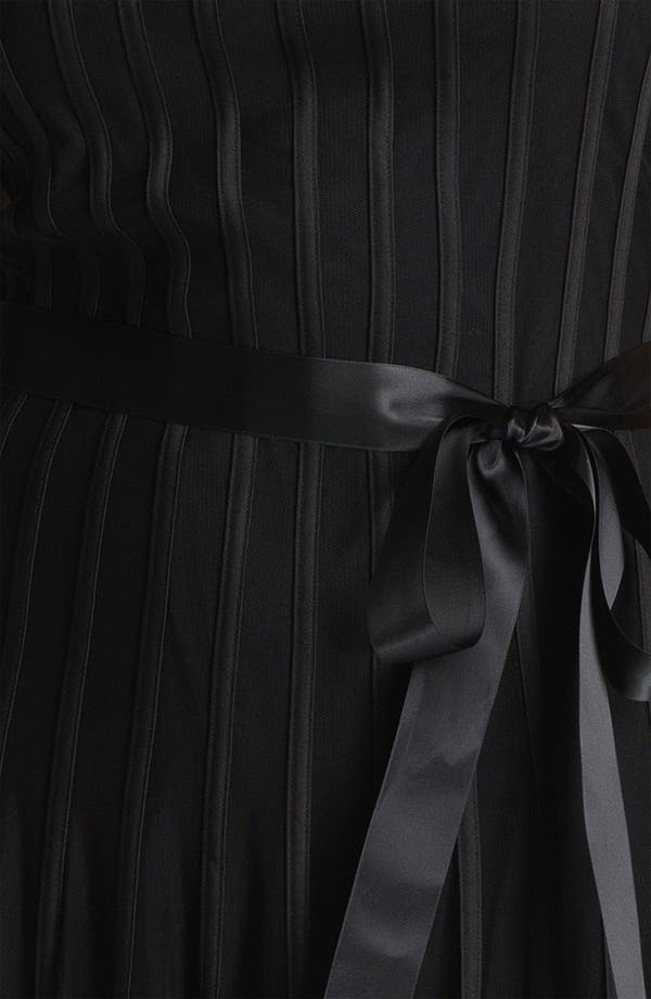 Alternate Image 3  - Xscape Sleeveless Satin Stripe Mesh Dress (Plus Size)