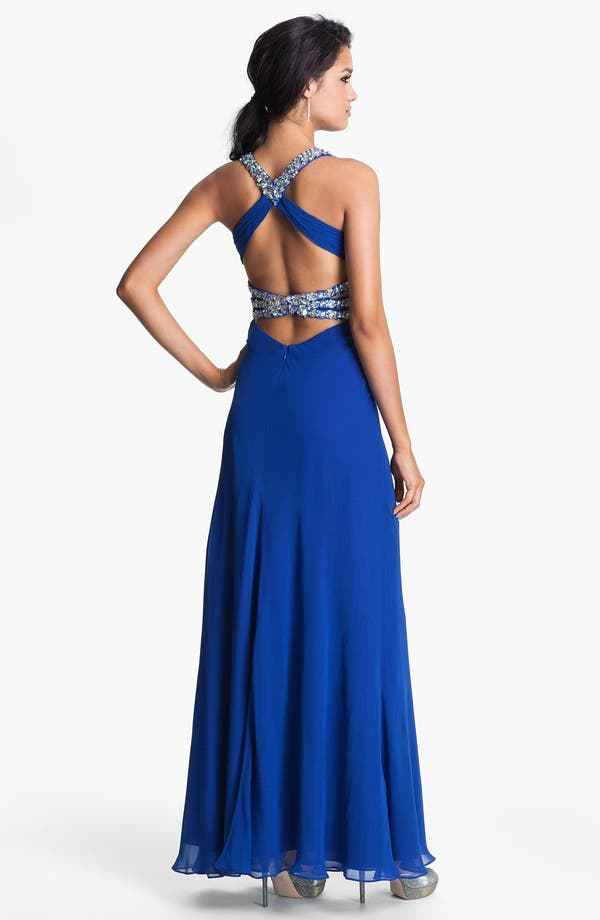 Alternate Image 2  - Faviana Beaded Halter Chiffon Dress (Online Only)