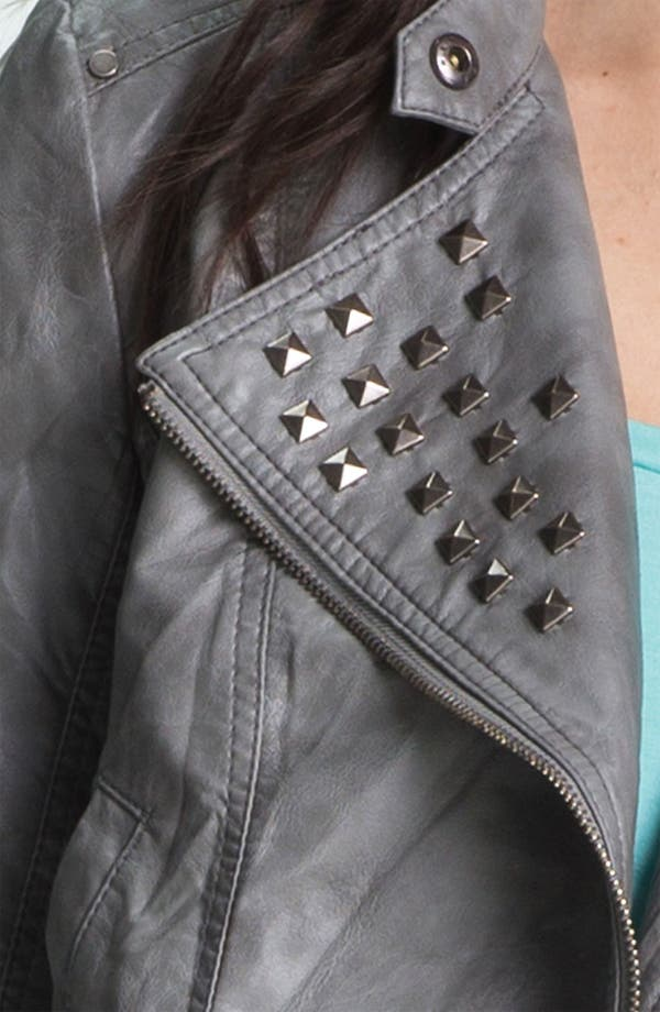 Alternate Image 4  - Collection B Stud Lapel Cropped Biker Jacket (Juniors)