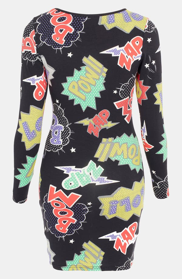 Alternate Image 2  - Topshop Comic Book Print Body-Con Dress (Petite)