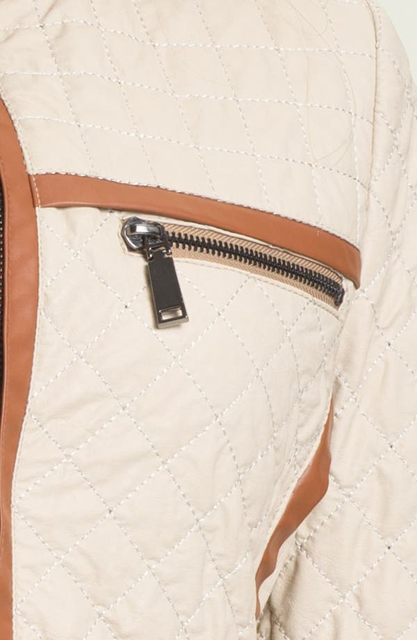 Alternate Image 4  - Via Spiga Faux Leather Trim Quilted Jacket (Online Only)