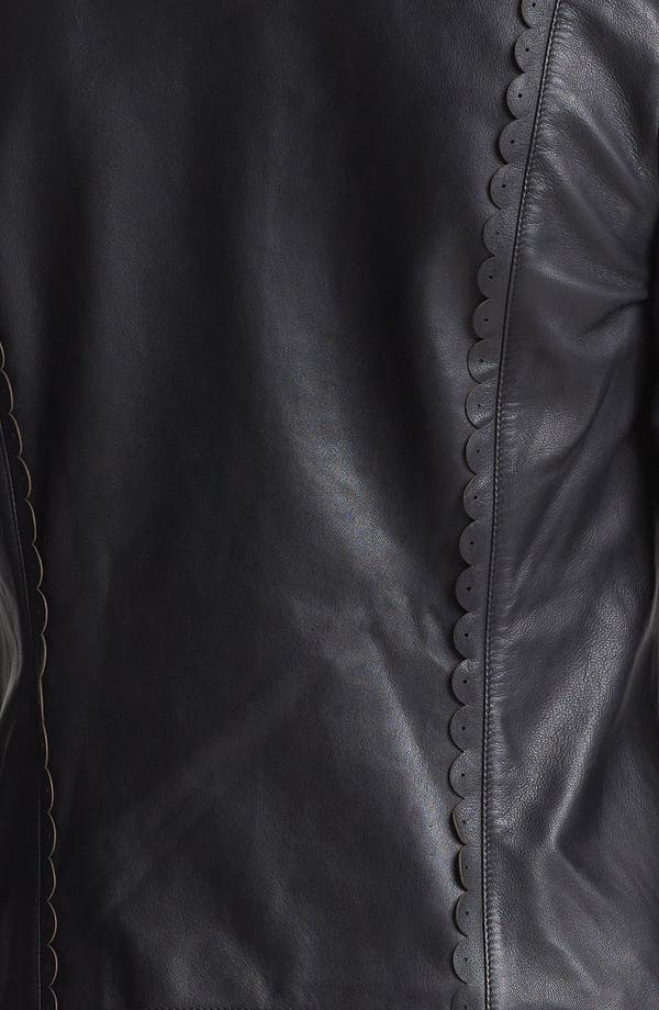 Alternate Image 3  - Hinge® Scallop Trim Leather Jacket (Online Only)