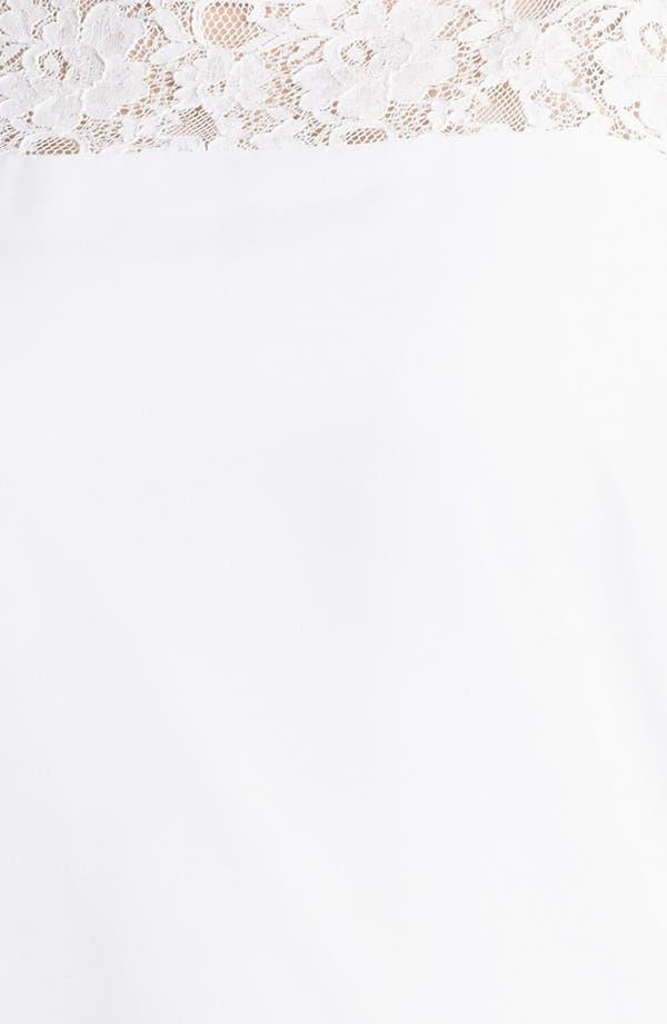 Alternate Image 3  - Evans Lace Yoke Chiffon Bubble Blouse (Plus Size)