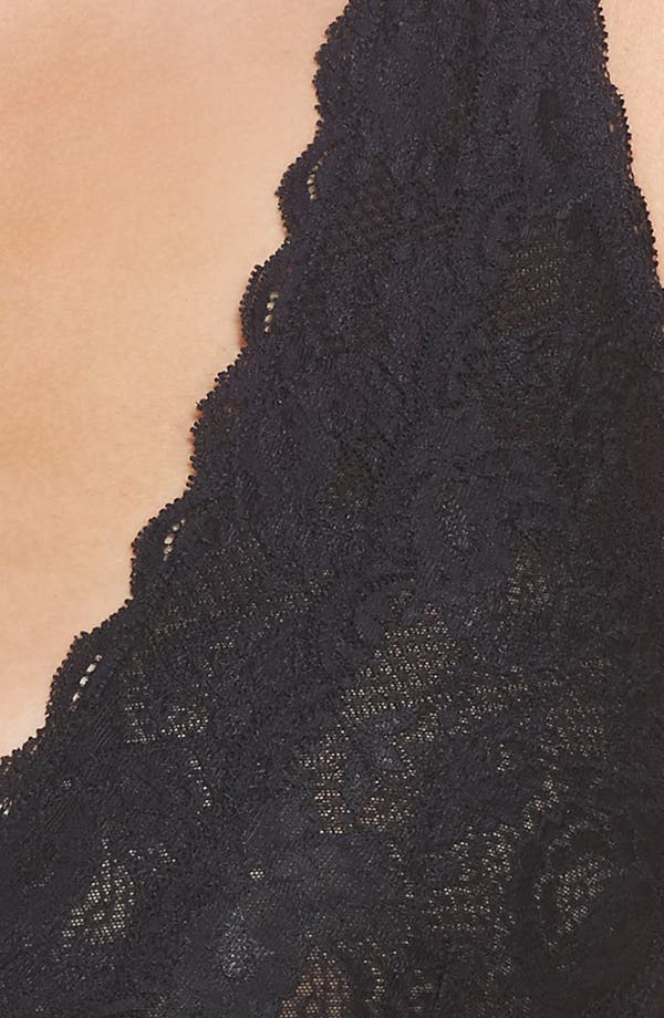 Never Say Never Plungie Lace Longline Bralette,                             Alternate thumbnail 4, color,                             Black