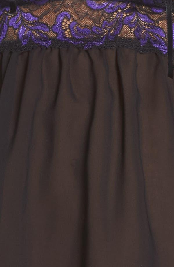 Plumage Babydoll Chemise,                             Alternate thumbnail 6, color,                             Purple/ Black