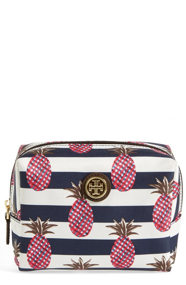 'Brigitte' Nylon Cosmetics Case,                             Main thumbnail 1, color,                             Pineapple Stripe