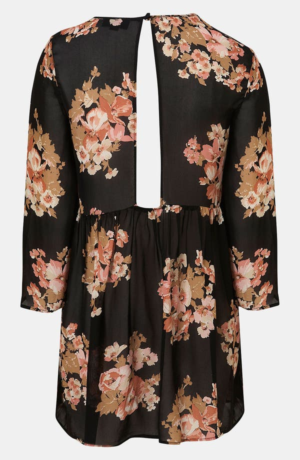 Alternate Image 2  - Topshop Floral Print Cutout Back Tunic