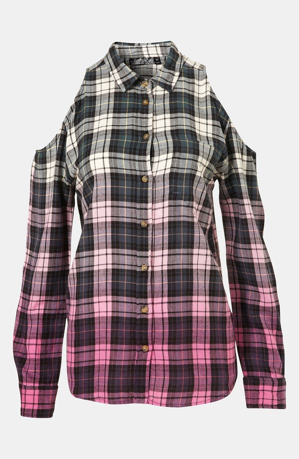 Main Image - Topshop Dip Dye Cutout Plaid Shirt