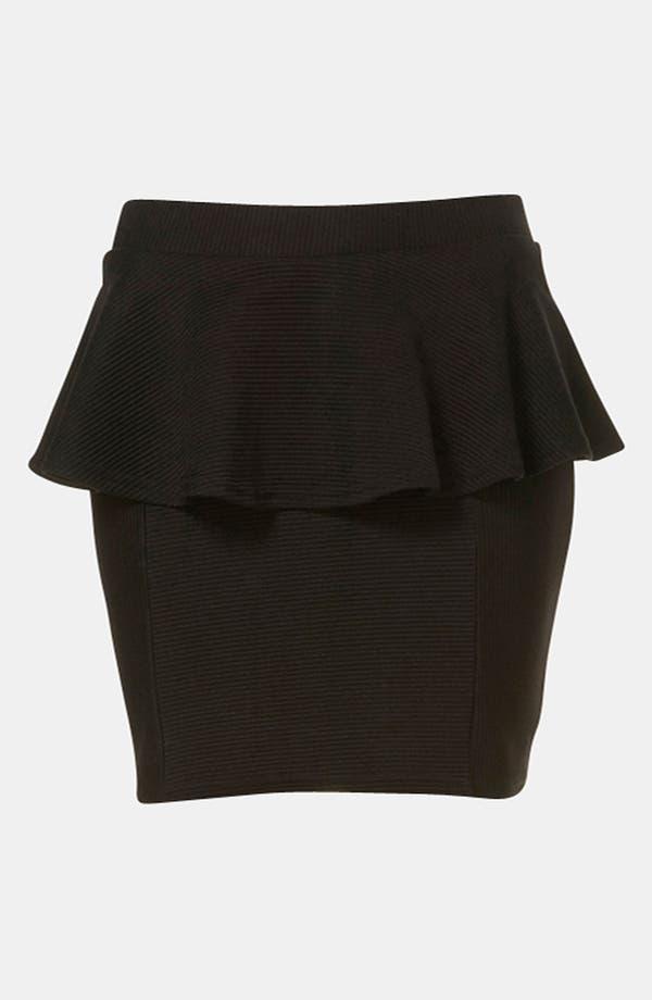 Alternate Image 2  - Topshop Ribbed Peplum Miniskirt