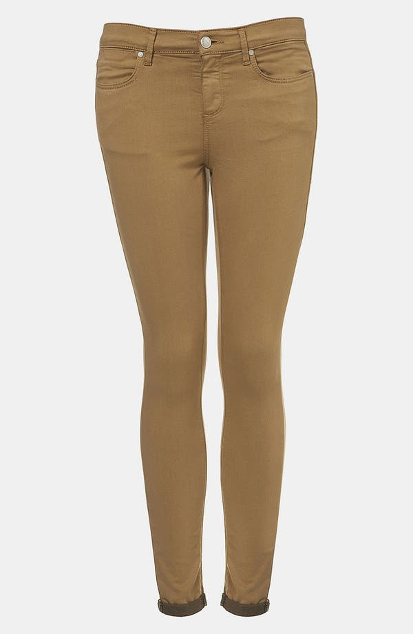 Main Image - Topshop Moto 'Leigh' Skinny Jeans (Tobacco) (Petite)