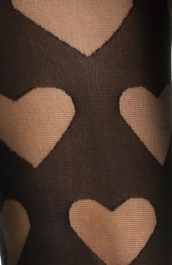 Alternate Image 2  - Frenchi® Burnout Heart Tights (Juniors)