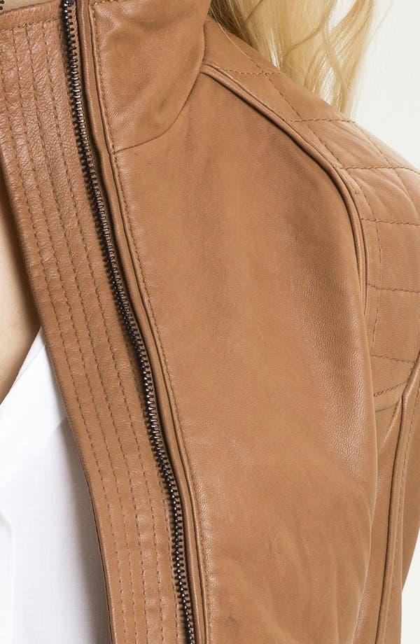 Alternate Image 3  - DKNY Leather Scuba Jacket (Petite)