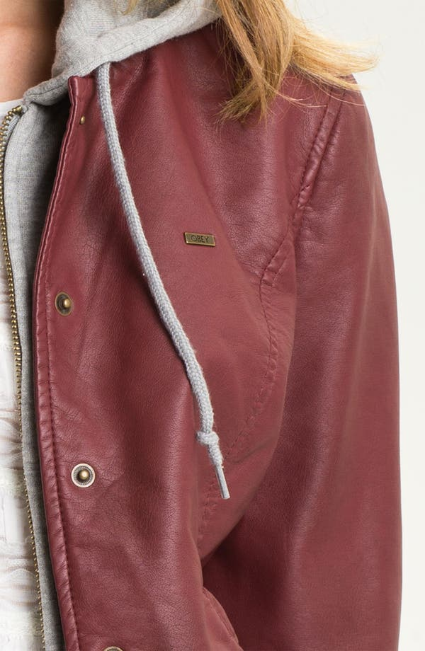 Alternate Image 3  - Obey Layered Look Faux Leather Varsity Jacket