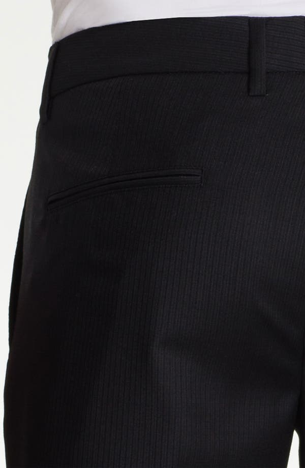 Alternate Image 3  - BOSS Black 'Crigan' Pinstriped Flat Front Wool Trousers