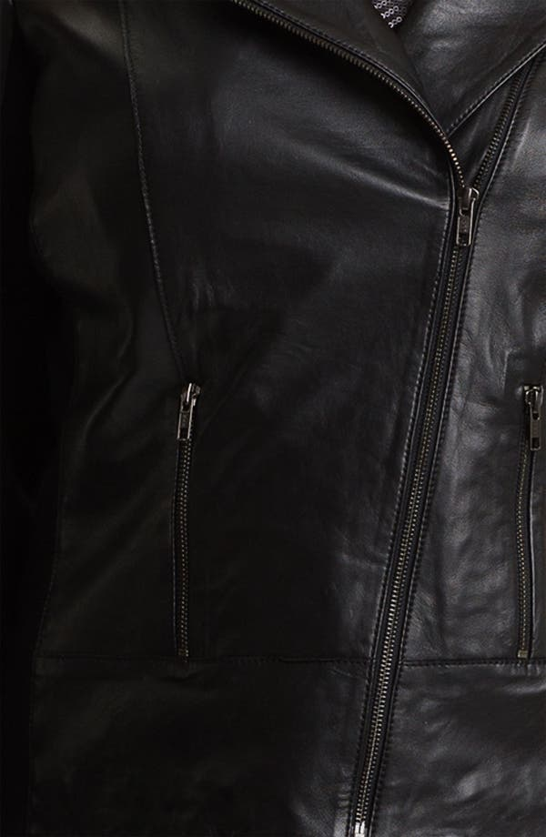 Alternate Image 3  - Sejour Leather Motorcycle Jacket (Plus)