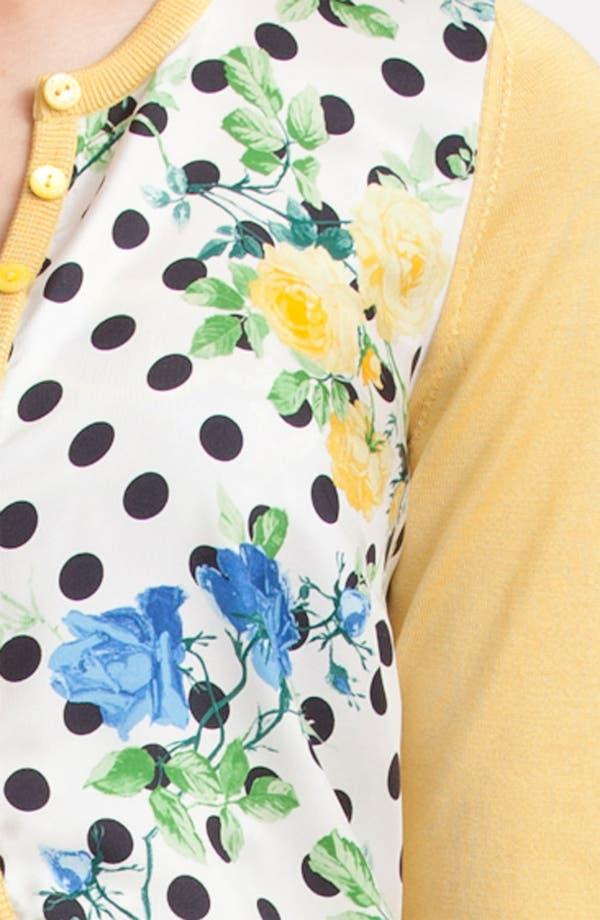 Alternate Image 3  - Dolce&Gabbana Dot & Rose Print Silk Knit Cardigan