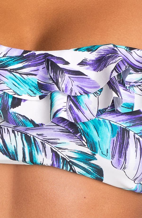 Ruffle Bandeau Bikini Top,                             Alternate thumbnail 3, color,                             Purple