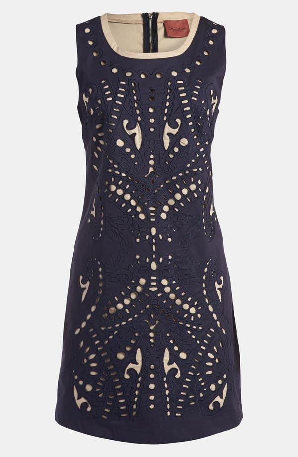 Cutout Dress,                             Main thumbnail 1, color,                             Navy With Taupe