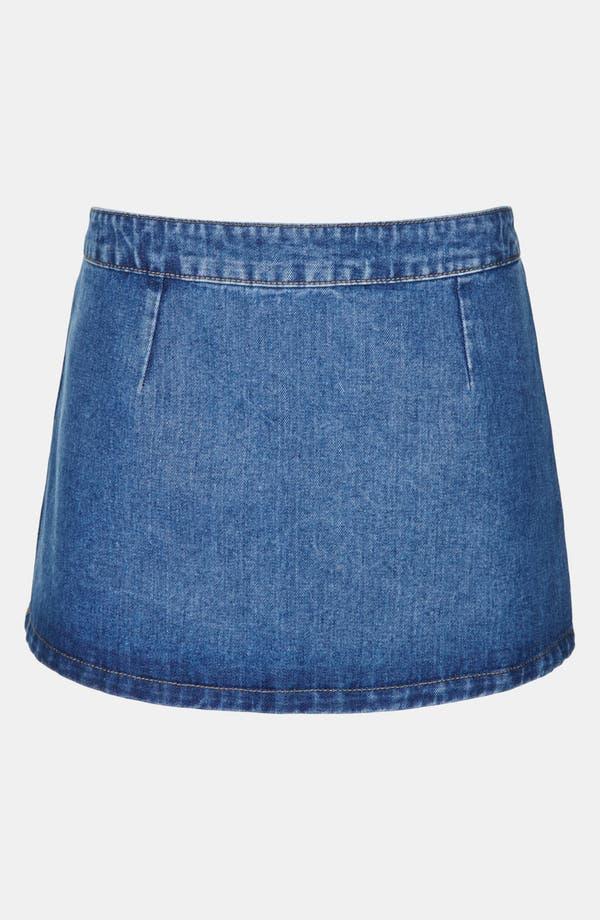 Main Image - Topshop Moto 'Pelmet' Denim Skirt (Petite)